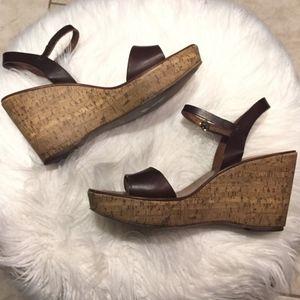 J crew cork wedge sandals